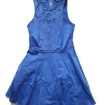 Euc Magnolia Dress by Parker - Blue Fit & Flare Floral Embroidered Cutouts- Sz S Photo