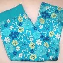 Euc Maternity Announcments Ladies Capris Pants Aqua Blue Floral Sz Large 12/14 Photo