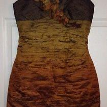 Euc Max and Cleo Ombre Crinkle Brown Taffeta Dress 8 Photo