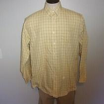 Euc Men's Brooks Brothers 346 Sz Large Non-Iron Yellow Plaid Ls Dress Shirt Photo