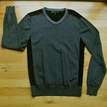 Euc Mens G by Guess Black/gray Stripe v-Neck Long Sleeve Sweater (M)  Photo