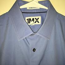 Euc Mens Blue Express 1mx Extra Slim Fit L/s Dress Shirt Medium 15 15.5 34 Photo