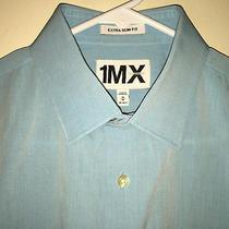 Euc Mens Blue Express 1mx Extra Slim Fit L/s Dress Shirt Medium 15 15.5 33 Photo