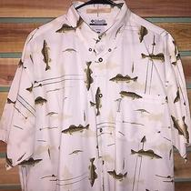 Euc Mens Columbia River Lodge Fish Print S/s Cotton Button Down Shirt Xl Photo