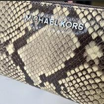 Euc Michael Kors Jet Set Snake  Embossed Leather Zip Around Xl Wallet/wristlet Photo