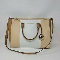 Euc  Michael Kors Sutton Leather Center Stripe  Large Satchel Handbag  Photo
