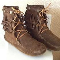 Euc - Minnetonka Double Fringe Tramper Bootie 623 Taupe 6b - Just Like New - 64 Photo