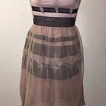 Euc Minuet Blush Pink Lace Black Dress Vintage Look Modcloth Size Small Applique Photo