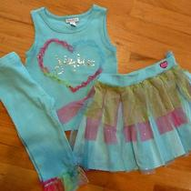 Euc Naartjie Jie Jie 6 7 Aqua Tulle Heart Tank Top Tiered Netted Skirt 3 Pieces Photo