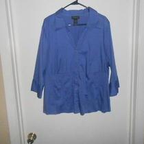 Euc Nice Dress Shirt Size 22/24 Blue 3/4 Sleeve Button Up by Lane Bryant Photo