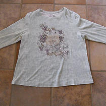Euc Nicole Miller Ny Rhinestone Embellished Green Tuscan 3/4 Sleeve Shirt Top 2x Photo