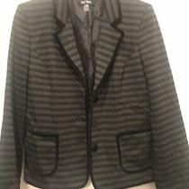 Euc Nine West Black Green Blazer Jacket  Sz 6 Classy Hipster Velvet Accent Photo