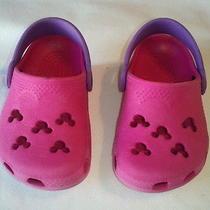 Euc Pink Crocs Mickey Mouse Sz 2 Photo