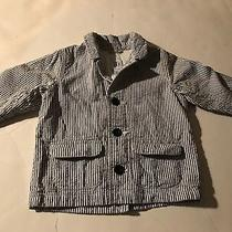 Euc Pre-Owned Baby Gap Blue White Striped Seersucker  Blazer Jacket Sz 6-12 Mths Photo