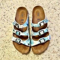 Euc Pretty Birkenstock Florida Blue Pixl Slide Sandals Papillio Womens Sz 8-8.5m Photo