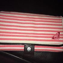 Euc Roxy Pink & White Striped Fabric Envelope Style Wallet Photo