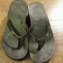 Euc Roxy Wedge Flip Flops Faux Leather Straps Sandles Size 7 Black  Photo