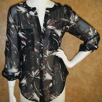 Euc Sanctuary Sz M Medium Black Print Sheer Button Front Blouse Top Red Glitter  Photo