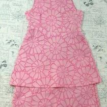 Euc Sara Campbell  Pink on Pink Textured Flower Layered Dress Made Usa Size 4 Photo