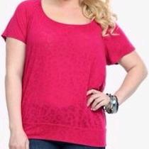 Euc Sexy Torrid Twist Tees Red Leopard Burnout Top W Keyhole Cutout Back 1x Photo