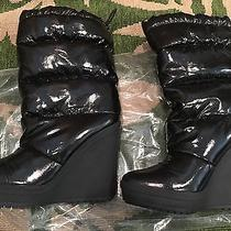 Euc Shiny Patent Black Vinyl Platform Wedge Snow Rain Boots Sz 8  Photo