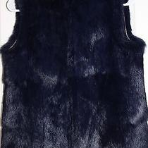 Euc Solid Navy Balenciaga Rabbit Fur Vest Size 38 Photo