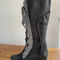 Euc Sorel Cate the Great Size 9 Black Leather Grey Suede Knee High Wedge Boots  Photo