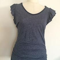 Euc Splendid Blue Gray Cotton Blend Stretchy Cap Sleeve Top Sz. S Photo