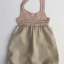 Euc Stella Mccartney for Baby Gap Linen Romper 12-18 Blush Beige Crochet Top Htf Photo