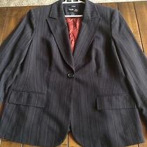 Euc style&co Womens Blazer Suit Jacket Black Pink Pin Stripe Size 14p Stretch Photo