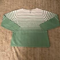 Euc Talbots Green and White Sweater Size Large Photo