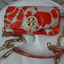 Euc Tory Burch Patent Leather Tie Dye Small Shoulder/crossbody Orange/cream Bag Photo