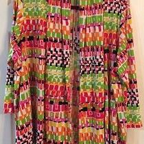 Euc Travel Elements Bright Multi Colors Open Front 3/4 Sleeve Cardigan Sz 2x Photo
