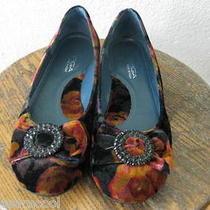 Euc via Spiga Velvet Victorian Floral Vintage Gem Bow Ballet Flat 6.5 Photo