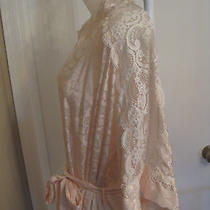 Euc Vintage Christian Dior Silky Polyester Lace Floral Blush Pink Bathrobe M Usa Photo