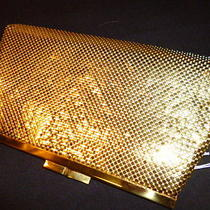 Euc Vintage Whiting & Davis Gold Metal Mesh Mother of Pearl Clutch Handbag Purse Photo