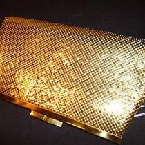 Euc Vintage Whiting & Davis Gold Metal Mesh Mother of Pearl Clutch Handbag Purse Photo