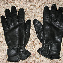 Euc Wns Sz S Black Leather Fleece Lined Wilsons Leather Express Gloves Photo