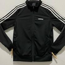 Euc Women's Adidas Full Zip Track Coat Size S Long Sleeve Black W/white Stripes Photo
