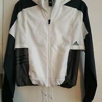 Euc Women's Adidas Zip Up Wind Breaker Jacket Black and White Size Xs Photo