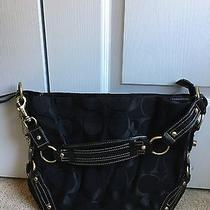 Euc Women's Carly Coach Handbag Shoulder Bag Black With Gold Hard Wear Photo