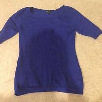 Euc Women's Express Solid Blue Crew Neck Sweater Xs Photo