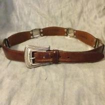 Euc Women's Fossil Bt 770422202 Leather Rectangular Concho Belt Size M Photo