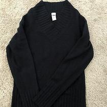 Euc Womens Gap Stretch Black Vneck Sweater. Size Medium Photo