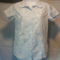 Euc Women's Patagonia Button Up Blouse Sz 8 Baby Blue With Dandelion Graphics  Photo