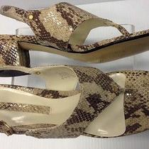 Euc Womens Bandolino Beige Lt Brown Snakeskin Print Sandal W/ Heel Sz 8 M- Look Photo