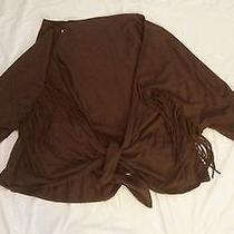 Euc Womens Brown Knit Top With Fringe Size L Photo