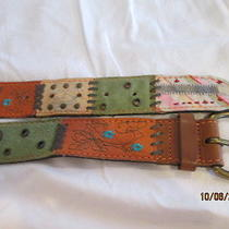 Euc Womens Fossil Leather Patch Belt Size Large 36-40 Tool Studs Fabric Suede  Photo