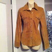 Euc Womens Gap Tan Beige Suede Leather Shirt Blouse M Long Sleeve Snap Button Photo