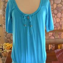 Euc Womens Hollister L 1/2 Elbow Short Sleeve Aqua Blue Ss Tee Shirt Fashion Top Photo